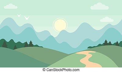 orizzontale, natura, cartone animato, concept., carino, style., beatiful, illustrazione, appartamento, paesaggio., vettore, montagna