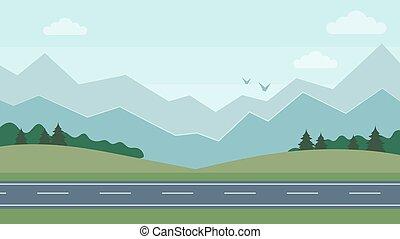 orizzontale, natura, cartone animato, road., carino, concept., style., beatiful, illustrazione, appartamento, paesaggio, vettore, montagna