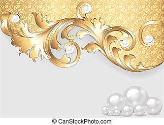 orizzontale, ornamenti, oro, fondo, perle
