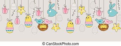 orizzontale, uova, bordo, seamless, appendere