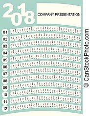orizzontale verticale, semplice, zebrato, calendario, posto, presentazione, insolito, minimalista, disegno, mesi, ditta, design.