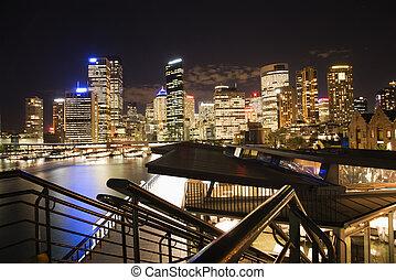 orizzonte, australia, sydney, notte