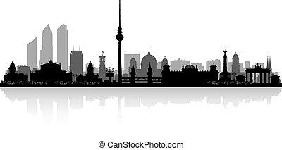 orizzonte, città, berlino, silhouette, germania
