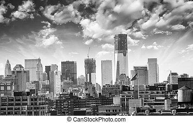 orizzonte, città, costruzioni, grattacieli