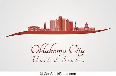 orizzonte, città, oklahoma, v2, rosso