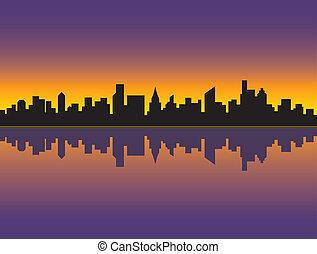 orizzonte, città, tramonto