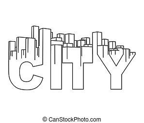 orizzonte, city., astratto, town., industriale, paesaggio, vettore, illustrazione
