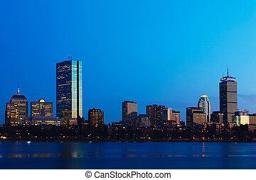 orizzonte, crepuscolo, massachusetts, boston