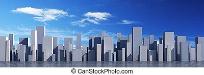orizzonte, di, uno, 3d, città