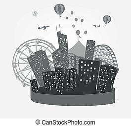 orizzonte, fondo, città, silhouette