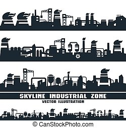 orizzonte, industriale, set