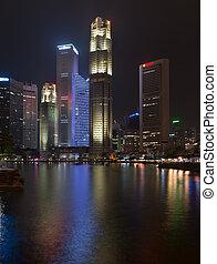 orizzonte, notte, illuminato, singapore