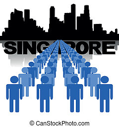 orizzonte, persone, singapore