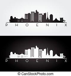 orizzonte, phoenix, silhouette.