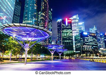 orizzonte, singapore, notte