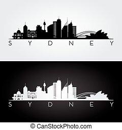 orizzonte, sydney, silhouette.