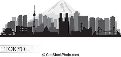 orizzonte, tokyo, città, silhouette
