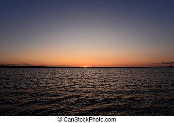 orizzonte, tramonto, modello acqua, onda blu, cielo