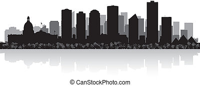 orizzonte, vettore, città, edmonton, canada, silhouette