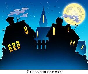 orizzonte, villaggio, silhouette, notte