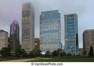 orizzonte, vista, crepuscolo, chicago