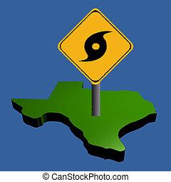 orkan, zeichen, auf, karte texas
