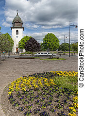 Orkened Parish Church and Flower Bed