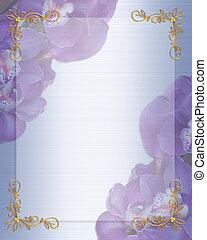 orkidéer, blommig, satäng, inbjudan, gräns