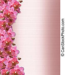 orkidéer, invitation, grænse, bryllup