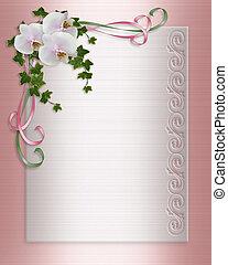 orkidéer, och, murgröna, bröllop inbjudan
