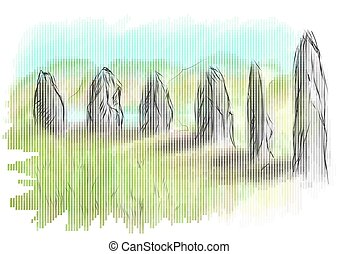 orkney, A neolithic stone circle and henge which is part of...