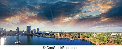 Orlando aerial view, skyline and Lake Eola at dusk.