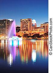 Orlando at night - Orlando downtown skyline panorama over...