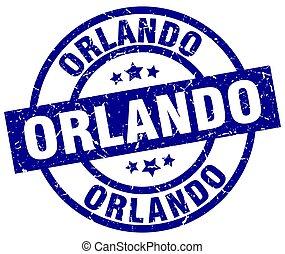 Orlando blue round grunge stamp