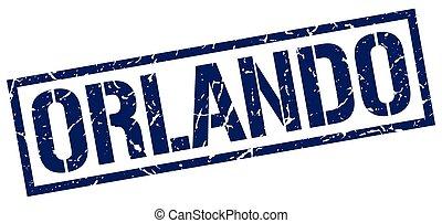 Orlando blue square stamp