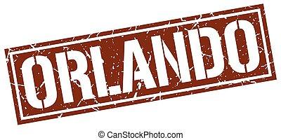 Orlando brown square stamp