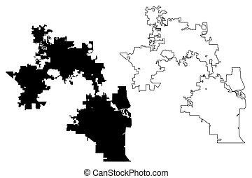 Orlando City map vector - Orlando City (United States...
