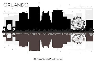 Orlando City skyline black and white silhouette with reflections.