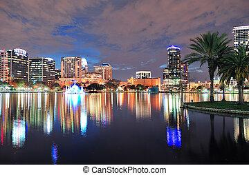 Orlando downtown dusk - Orlando downtown skyline over Lake ...