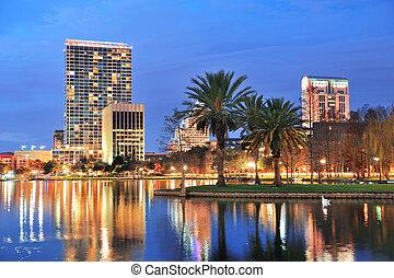 Orlando downtown dusk - Orlando downtown skyline over Lake...