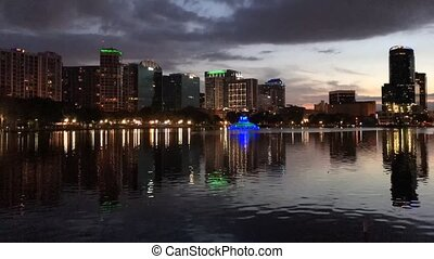 Orlando, Florida City Downtown Sunset in Lake Eola Park,...