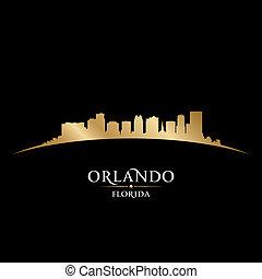 Orlando Florida city silhouette black background