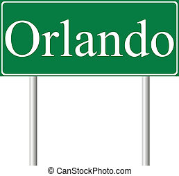 Orlando green road sign isolated on white background