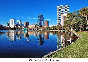 Orlando morning - Orlando Lake Eola in the morning with ...