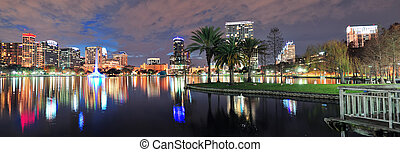 Orlando night panorama - Orlando Lake Eola panorama with ...