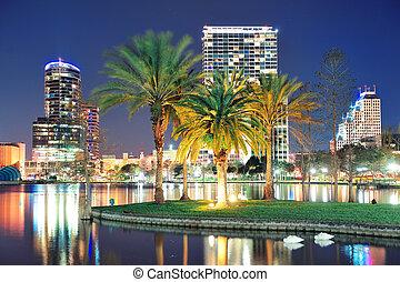 Orlando night scene - Orlando downtown skyline panorama over...