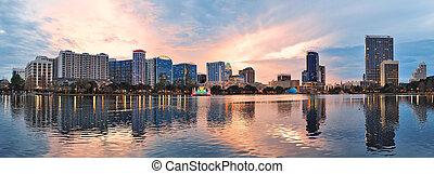 Orlando panorama - Orlando downtown Lake Eola panorama with...