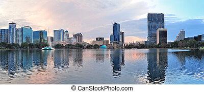 Orlando panorama - Orlando downtown Lake Eola panorama with ...