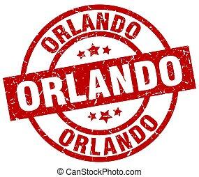 Orlando red round grunge stamp