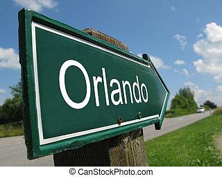 Orlando signpost along a rural road